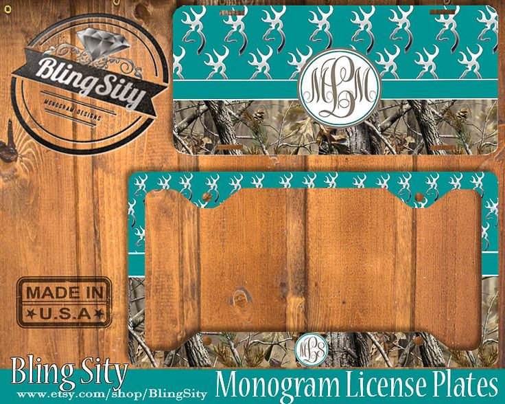 Turquoise Monogram License Plate Frame Holder Hunting