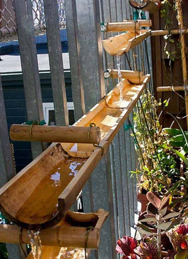 #16. Build a cascading fountain using some bamboo poles.