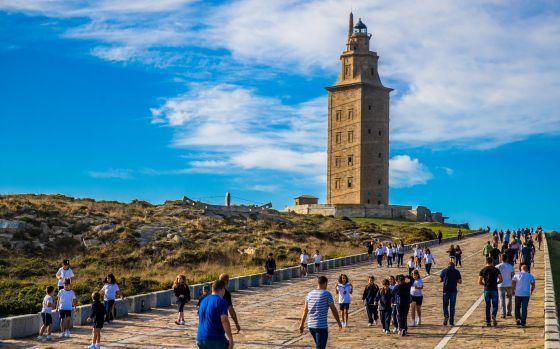 Subida a la Torre de Hércules, en A Coruña.