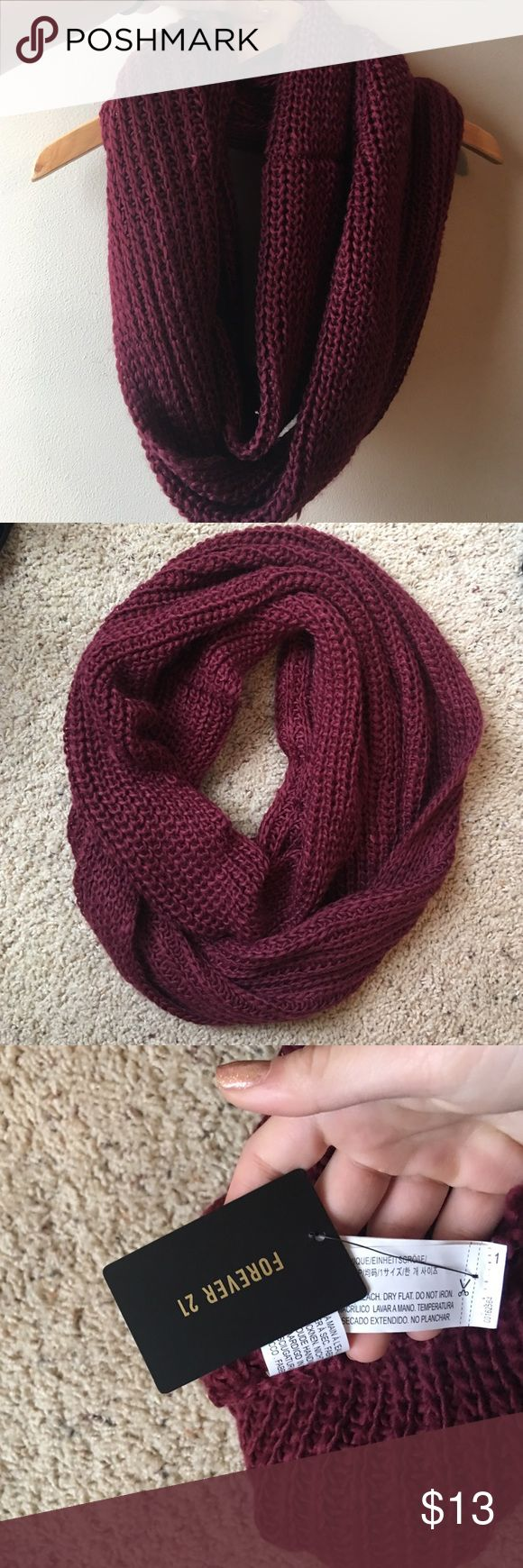 brand-new with tags forever 21 maroon scarf brand-new so never worn and in perfect condition chunky sweater knit maroon scarf Forever 21 Accessories