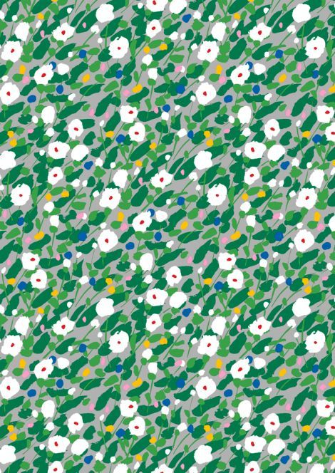 Kesäheinä cotton (grey, green, red) | Fabrics, Cottons | Marimekko