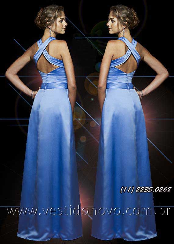 c23cba50f86fd Vestido em cetim azul, madrinha de ca…   Vestido de Festa longo, madrinhas  de casamento, LOJA VESTIDO NOVO zona sul   aclimação, vila mariana, ...