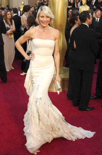 Cameron Diaz goes for a white fishtail frock