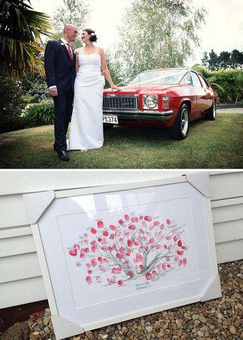 My Guestbook Pohutukawa Fingerprint Guestbook /  Vintage Holden Kingswood Wedding Car