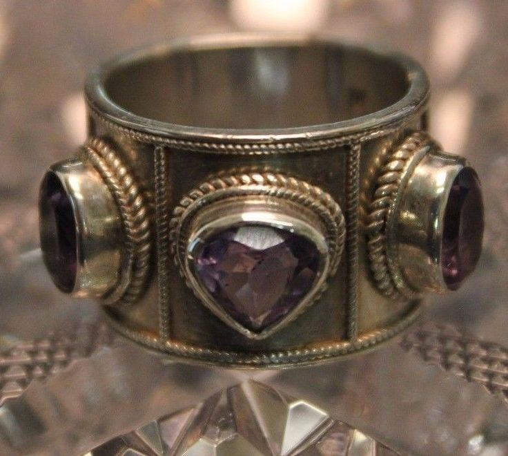 Etruscan Silver Jewelry Wide Ring Purple Stones Textured Design shooting star? #Band