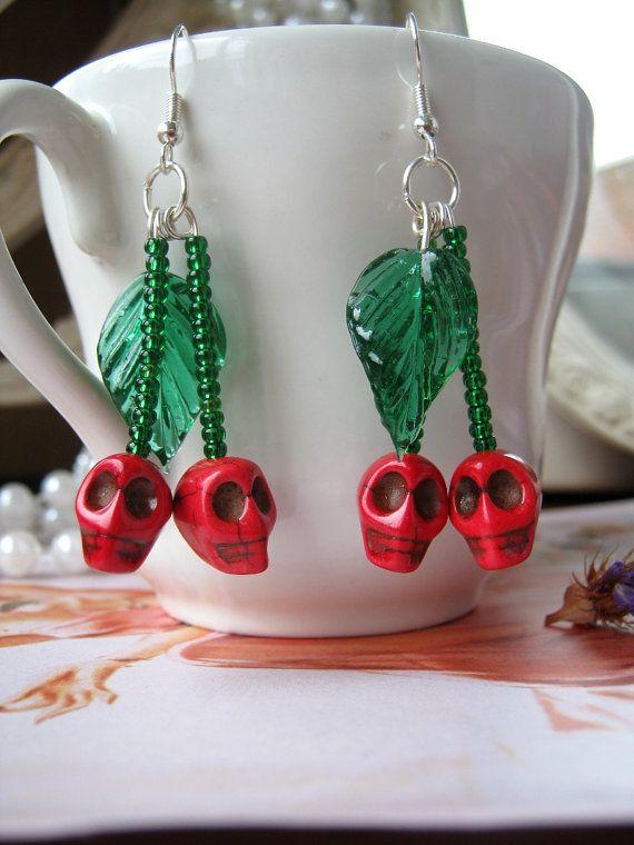 Rockabilly Cherry Skull Earrings psychobilly by senoritamuerta, £6.00