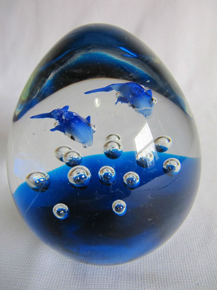 Nautical dolphins swimming blue glass paperweight - high ...