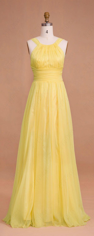 Yellow Long Chiffon Prom Dresses Bridesmaid Dresses ...