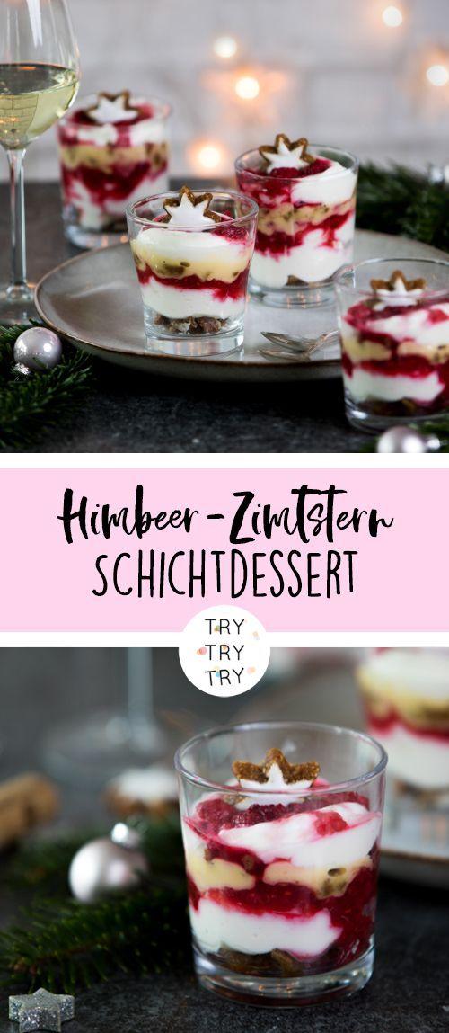 Raspberry-Zimtstern-Layered Dessert // Dessert for Christmas // Christmassy …