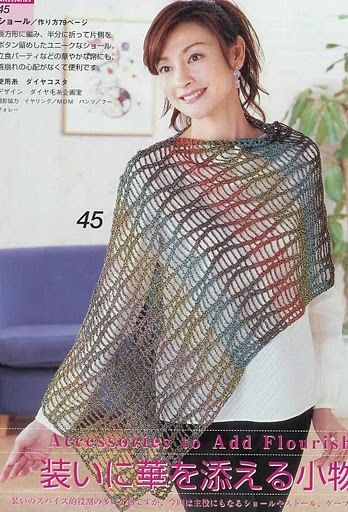 Crochet Shawl, the pattern is quite simple but very interesting, chart included