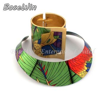 2014 Country Style Multicolor Painting Torques Spring Cuff Bracelet Bangles Necklace Sets Women Party Statement Jewelry CE2191-S