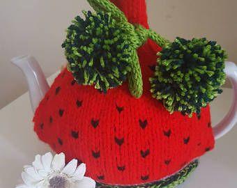 Sandía de punto té acogedor té acogedor, acogedor té, tetera cubierta, inauguración de regalo, regalo para ella, accesorio de cocina, novedad té acogedor