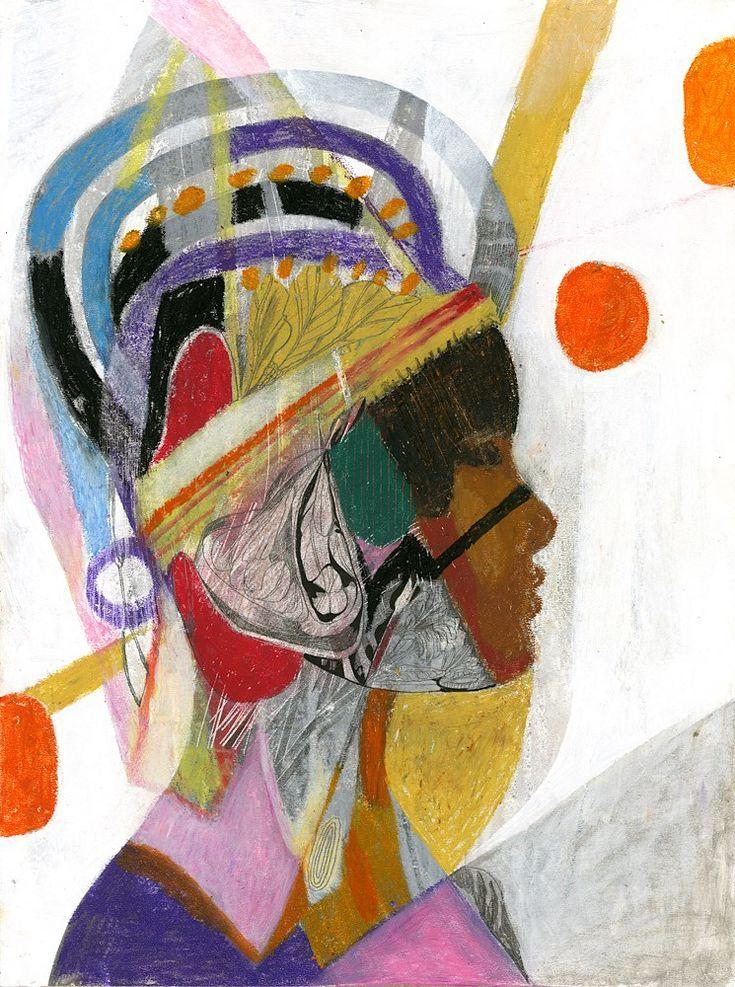 FolkHead, a new work by Olaf Hajek, 2014. Mixed media with wax crayon