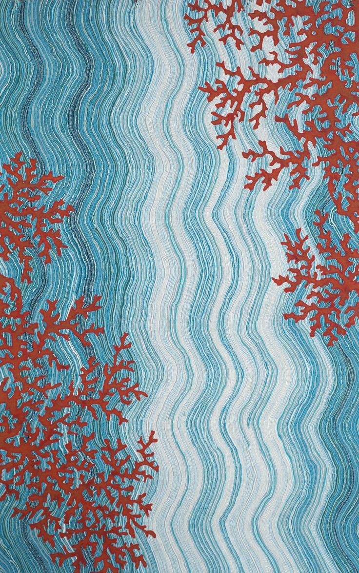 Coral And Wave Beach Rug