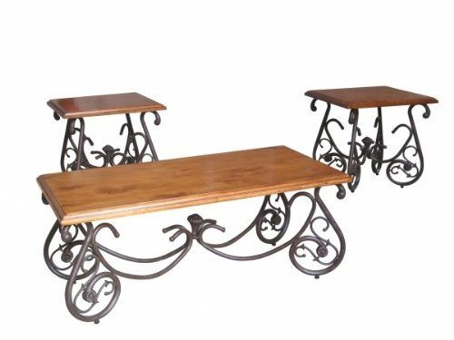Classical Design Pine Top Coffee Table Set 3 Pack Living Room Tea End Table By None