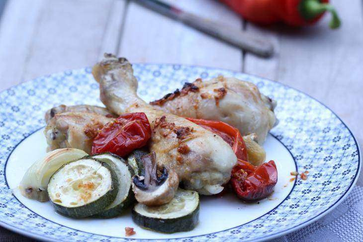 Marinated chicken with vegetables - Gemarineerde kip met groenten uit de oven