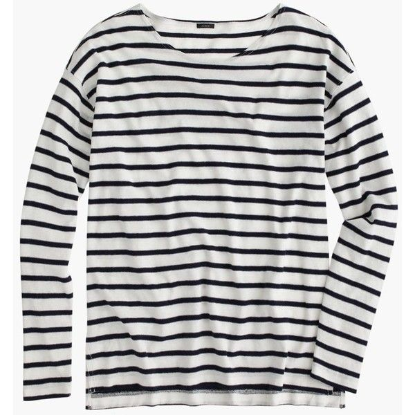 J.Crew Deck-Striped T-Shirt found on Polyvore featuring tops, t-shirts, shirts, striped sleeve shirt, stripe shirt, slim t shirts, loose t shirt and stripe t shirt