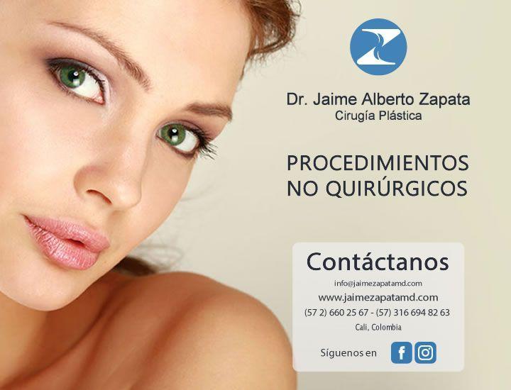 En Dr. Jaime Alberto Zapata - Cirugía Plástica podrás encontrar los tratamientos faciales no quirúrgicos.  Pregunta por aplicación de Botox, Ácido Hialurónico, Hilos Tensores, X-Wave Ondas Acústicas, Accent XL, Plasma Rico en Plaquetas entre otros.  Dr. Jaime Alberto Zapata - Cirujano Plástico - Miembro de la SCCP y SBCP.  #cirugiaplastica #plasticsurgery #botox #acidohialuronico #hilostensores #xwave #ondasacusticas #rellenosfaciales #radiofrecuencia #accentfacial #accentcorporal