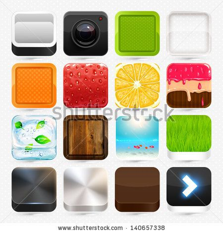 Apps icon set: strawberry, orange, camera, cake, summer beach and ice, wood and steel textures, colorful frames. by Ozerina Anna, via Shutte...