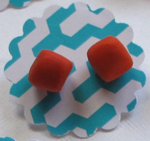 Handmade Neon Cube Stud Earrings in Orange by DanidotDesigns, $16.00