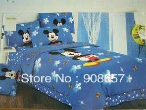 Синий микки маус детские мальчики постельное белье твин полный queen king size одеяло хлопок одеяло пододеяльники кровать в мешке листов комплект