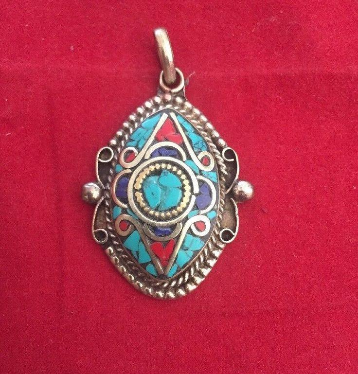 Handmade Tibetan Silver Turquoise, Coral and Lapis Pendant Men/Women Jewellery