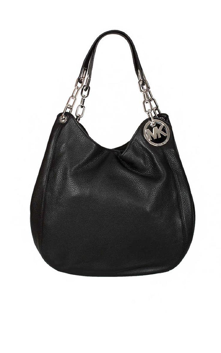 Väska Fulton LG Shoulder Tote BLACK/SILVER - Michael - Michael Kors - Designers - Raglady