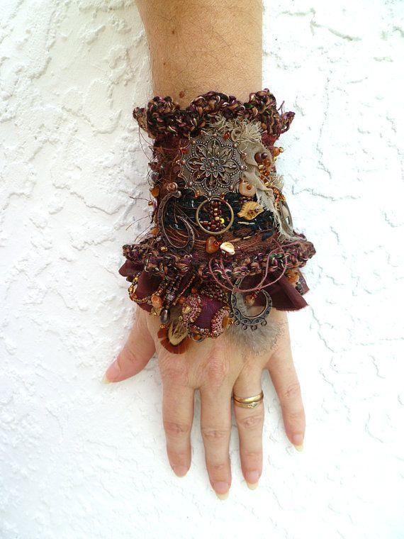 Gypsy tales II ooak fiber art gypsy bohemian cuff by Cesart64, $129.00