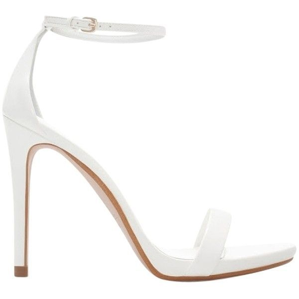 Pre-owned Zara Ankle Strap Heels 38 White Sandals ($135) ❤ liked on Polyvore featuring shoes, sandals, white, zara footwear, ankle tie shoes, ankle tie sandals, famous footwear and white sandals