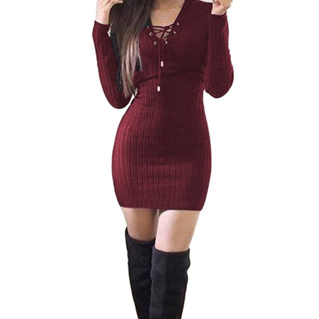 Winter Women Ladies Sweaters Dress Long Sleeve V-Neck Bandage Knitted Bodycon Stretch Party Top Robe Vestido Femininos Long Pull