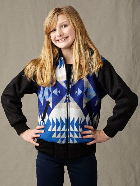 Pendleton ® Wool Fabric Kids Bomber Jacket Blue Yavapai