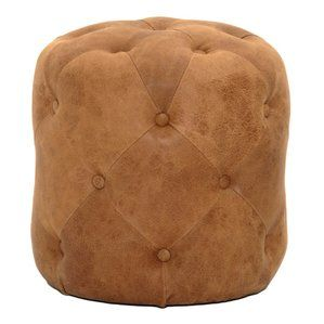 Rockway Tufted Leather Ottoman