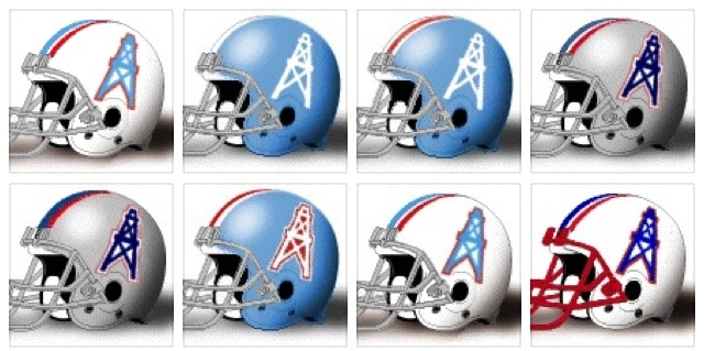 All the helmets the Houston Oilers wore