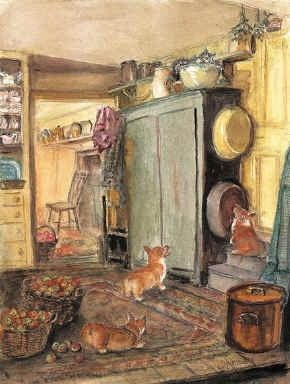 """A classic, instantly recognizable Tasha Tudor print, drawn from her own home. The alternative title was """"Cat in the Mixing Bowl"""", because, if you look closely, you'll see Minou hiding from the corgyn. We are particularly pleased with Granny's ability to capture the Oriental rug, as well as the antique texture of her blue cupboard.  Printed by Tasha Tudor and Family in August 2001.  Size 12"""" x 17""""  Printed in USA!"""