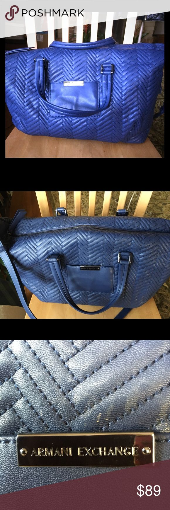 Armani Exchange Vegan Blue Bag Gently Pre-Loved Bag...very spacious.  Handles and shoulder or crossbody adjustable strap.  Inside pocket and compartments for phone or other essentials. Armani Exchange Bags