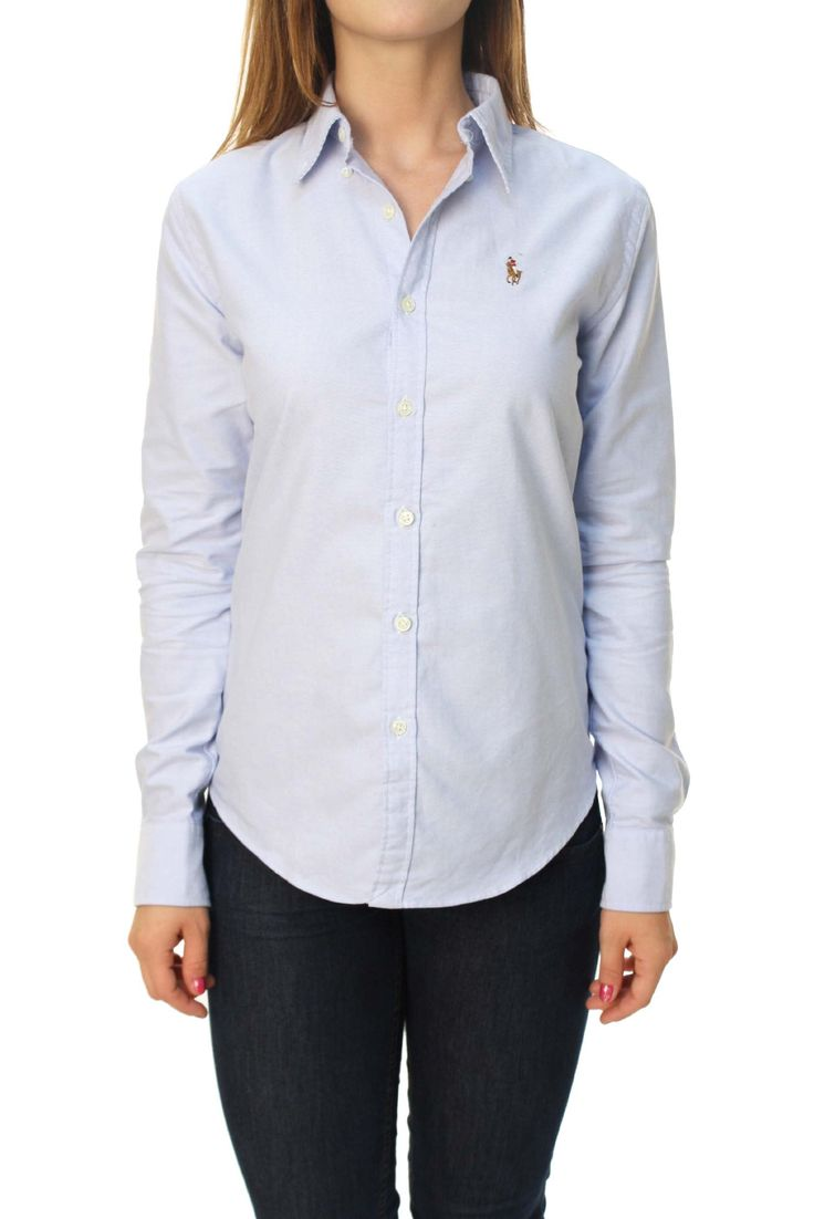 Polo Ralph Lauren Women's Slim Fit Stripe Oxford Button Down Shirt at Amazon Women's Clothing store: