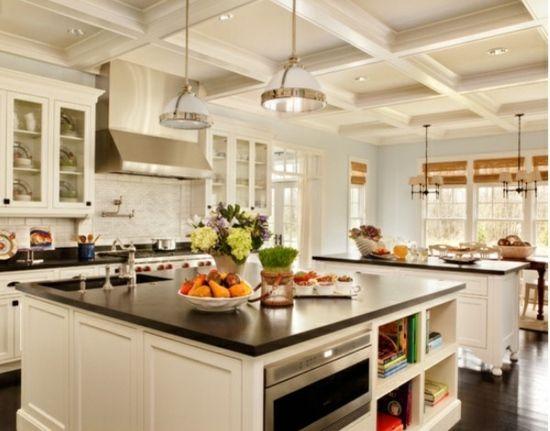 weiße Küche-kleine Kochinsel Einrichtung Ideen