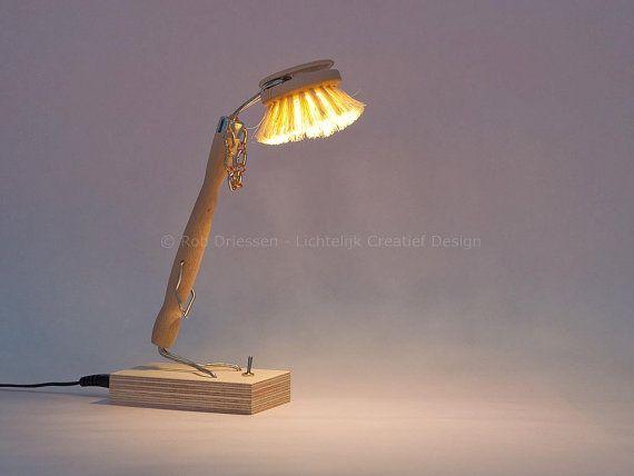 funny led lamp #lightobject #handmade #ledlight #madeinholland #gadget #desklamp #redesign #afwasborstel #dishbrush