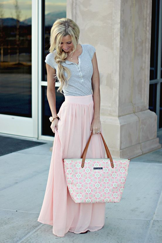 maxi skirt in pink pastel