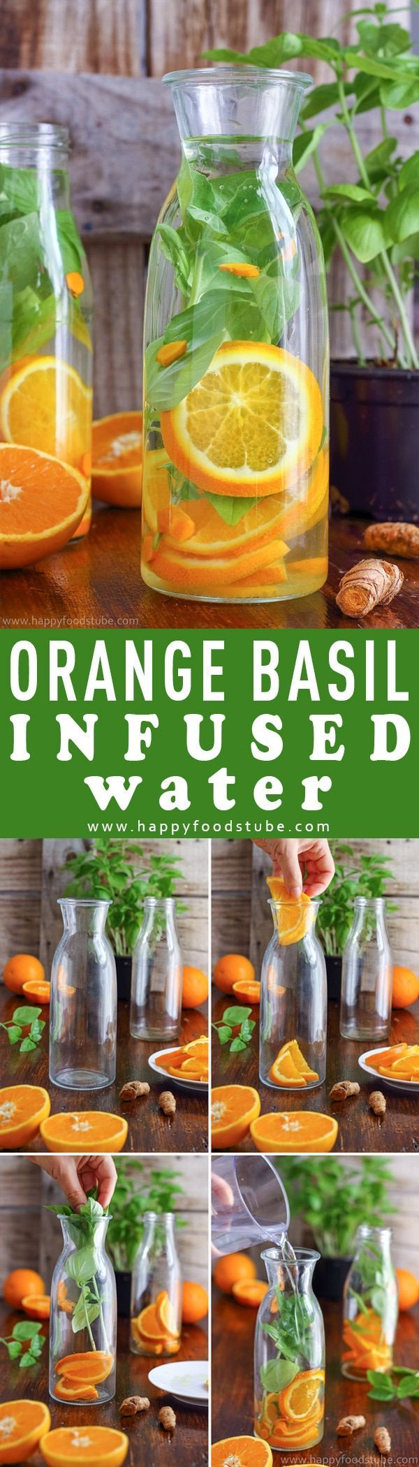 This orange basil infused water is the perfect drink for hot summer days. It's refreshing, tasty and easy to make. Stay hydrated with this healthy flavored water. Body detox and cleanse with infused water. Only 3 ingredients - orange, basil and turmeric v