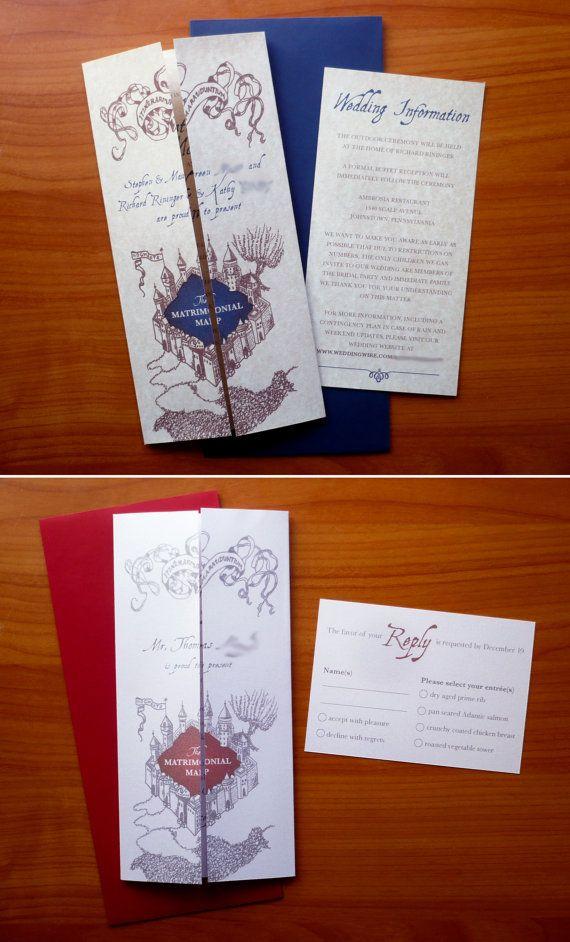 wedding invitations map%0A Custom Invitations Based on Harry Potter Hogwarts Marauder u    s Map For Wedding  u