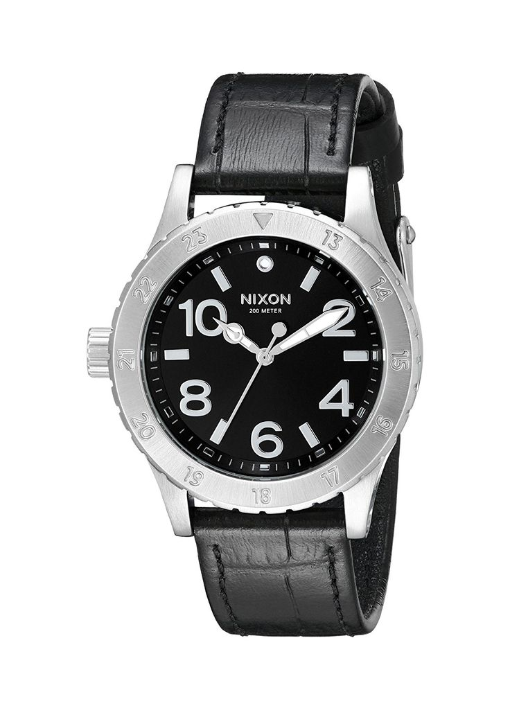 Nixon Women's A4671886 38-20 Stainless Steel Watch With Black Leather Band * More info could be found at the image url.