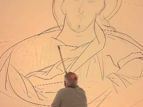 watch the large Pantokrator icon of Christ and the Holy Angels at the top of the dome of the new Holy Trinity Church in Pittsburgh being written before your very eyes as Dr. George Kordis and his iconography team start their holy work at Holy Trinity