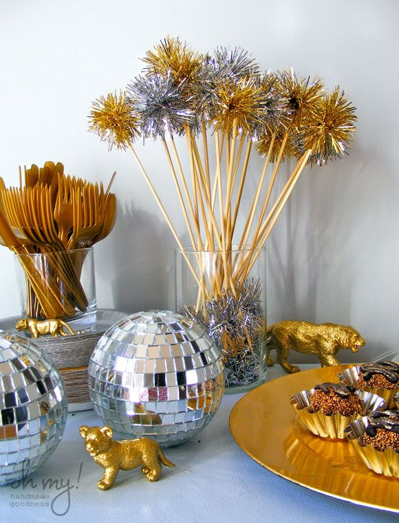 gold tiger party, 50th birthday party, handmade New Years Eve party