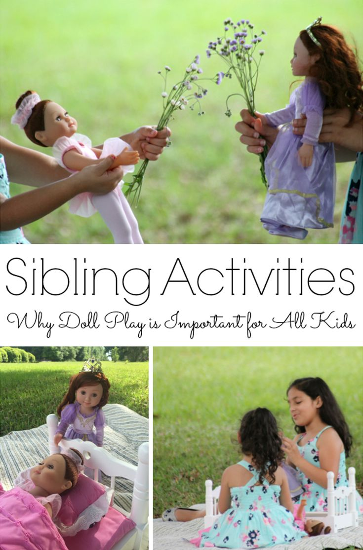 Sibling Activities with Dolls - One important way that siblings connect and form strong healthy relationships is through play. There is one particular toy that can help especially; can you guess what it is? Dolls! Do your children play with dolls together? Here are some reasons why doll play can help develop strong sibling relationships and help form life lessons . . . plus a few ideas to get you started with your siblings.