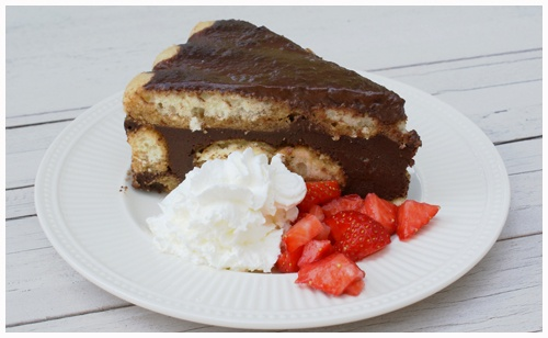 Chocolade Ladyfinger cake, great without the coffee and rum from the recipy