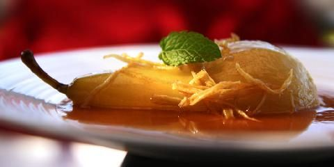 Pære med ingefær - Nydelig pæredessert med morsomme smaker.