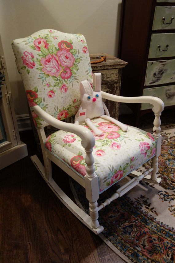 antique . rocking chair . upholstered seating . secret garden . botanical .  spring pastels . - 32 Best Rocking Chairs Images On Pinterest Chairs, Armchairs And