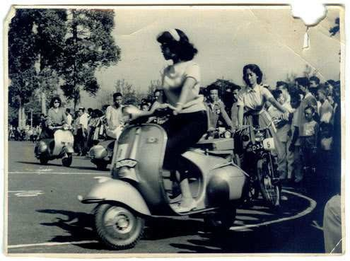 Vespa queen contest 1962 - The queen showed skill driving Vespa
