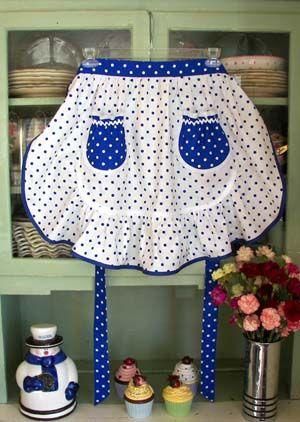 1943 White & Blue Poka Dot Apron